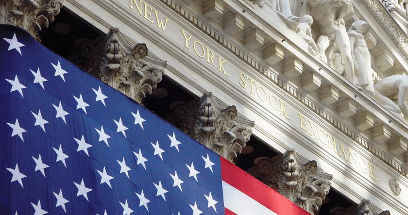NYSE, Bitcoin, American flag