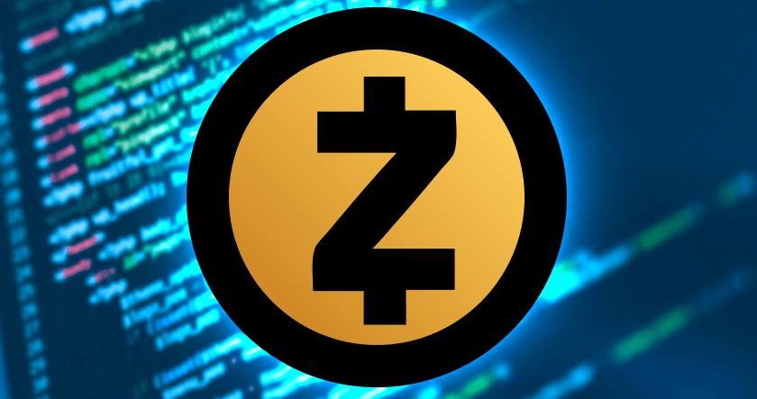 Zcash logo with code in background