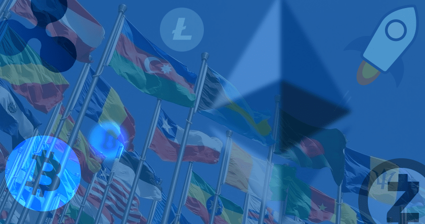 Cryptocurrency and world flags
