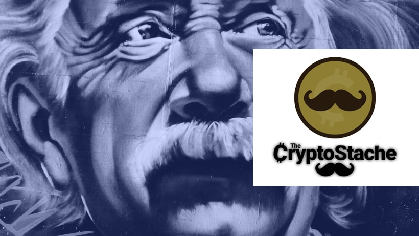 Einstein with CryptoStache logo