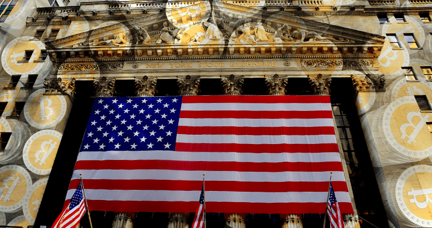 US flag and bitcoin over the NYSE building