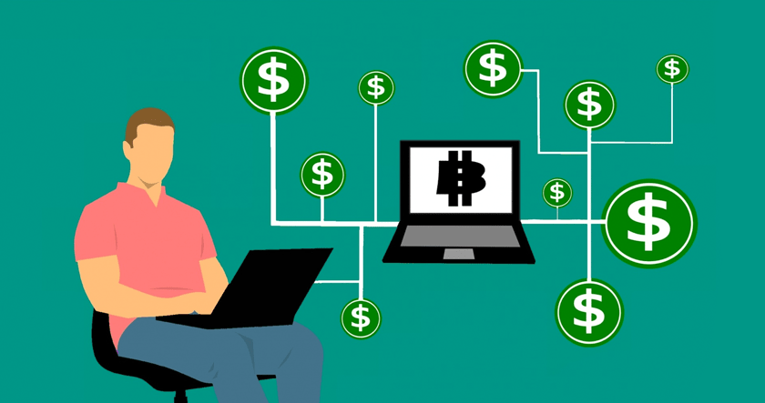Man on laptop surrounded by dollars