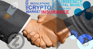 Handshake, crypto logos, and insurance text