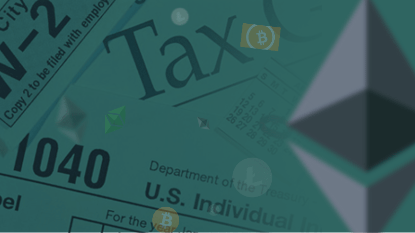 Cryptocurrency logos and tax forms