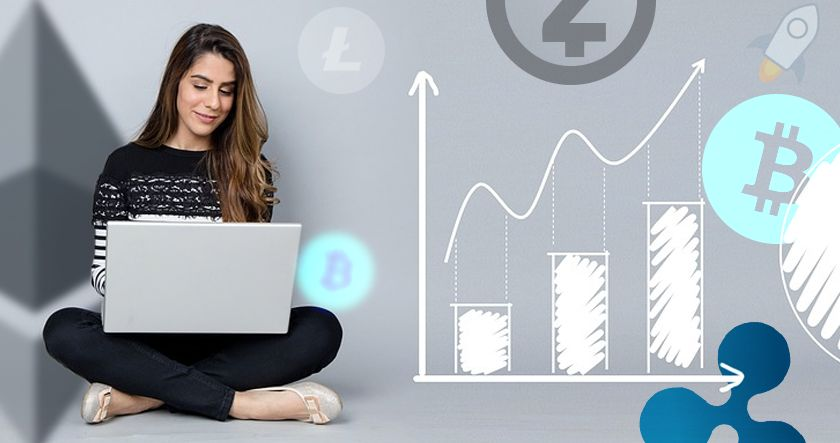 Woman, cryptocurrency, and chart