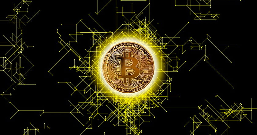 Bitcoin on black background