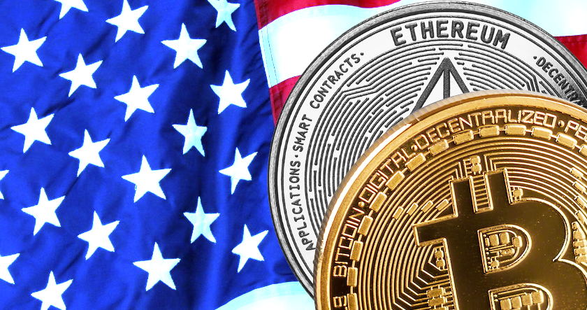 crypto and the US flag