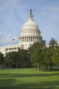 Vertical view of the United States Capitol building in Washington DC